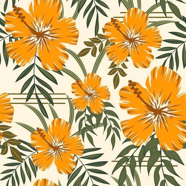 Na moda abstrata padrão sem emenda com folhas tropicais Vetor Premium