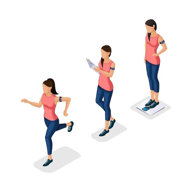 Na moda pessoas isométricas, atleta, jovem, estilo de vida saudável, fitness, esporte correndo correndo isolado Vetor Premium