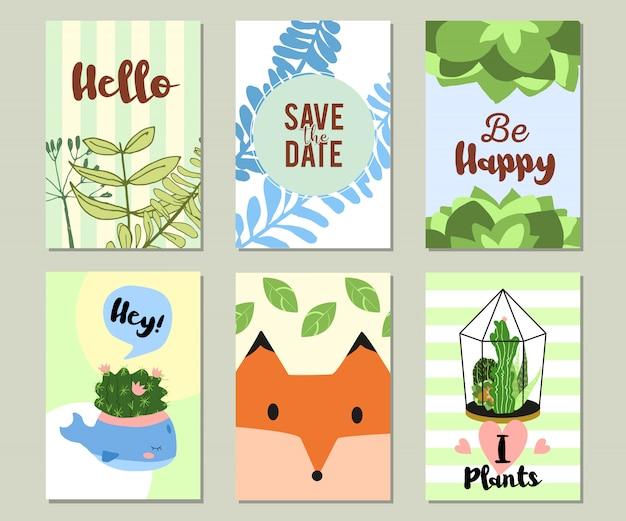 Na moda verão tropical ou floral banner set Vetor grátis