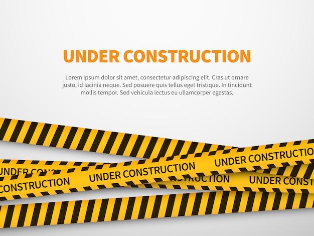 Na página de construção. cuidado fita amarela construir aviso linha fundo sinal página web cuidado segurança Vetor Premium