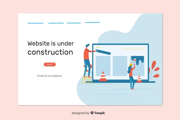 Na página de destino da web de construção Vetor grátis