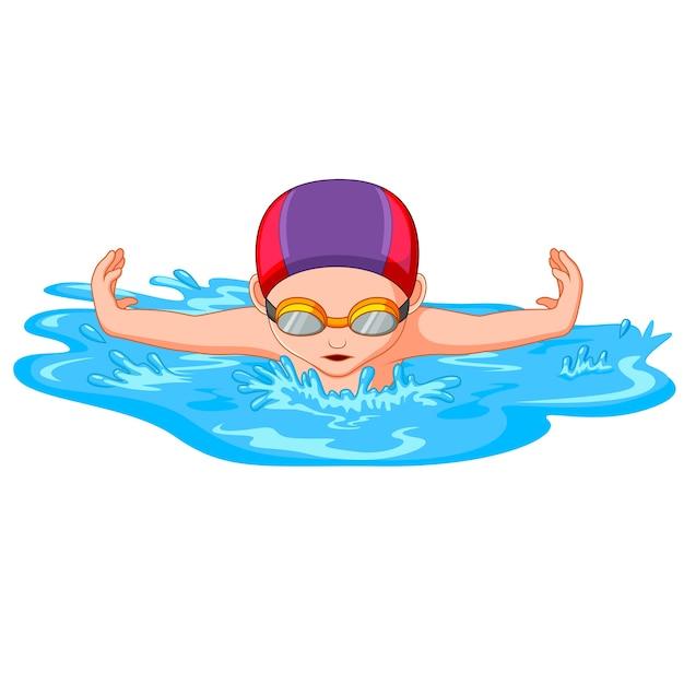 Nadadores durante a natação para competição esportiva Vetor Premium