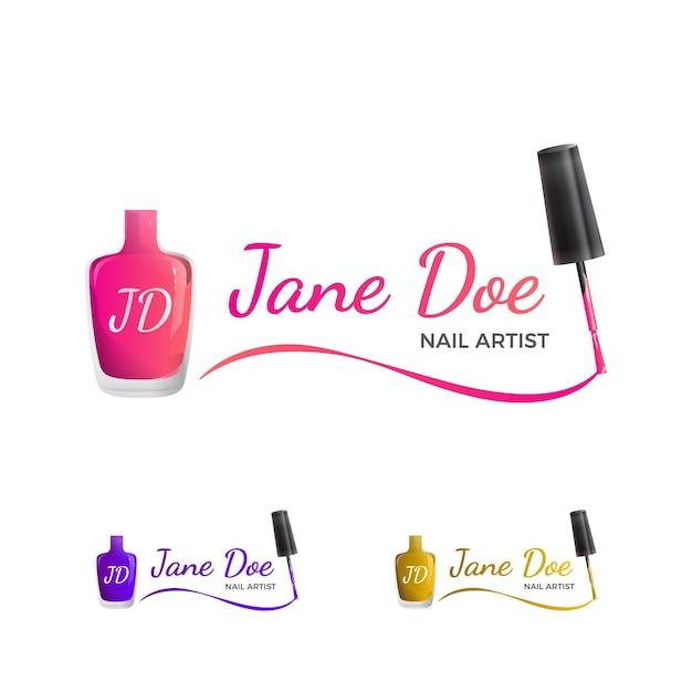 Nail art logo Vetor Premium