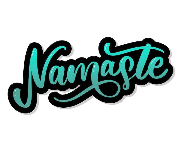 Namaste letras saudação indiana, olá em hindi camiseta mão com letras desenho caligráfico. Vetor Premium