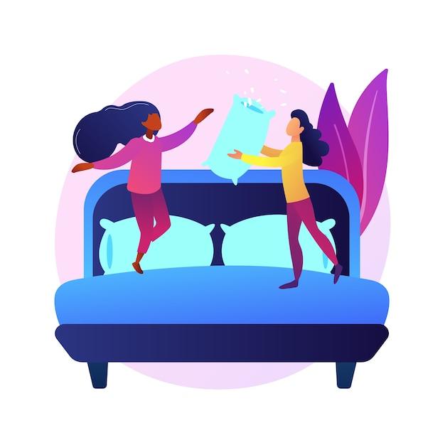 Namoradas de pijama na festa da galinha, pernoite, festa do pijama, diversão do pijama. atividade infantil. adolescentes alegres e travesseiro. Vetor grátis