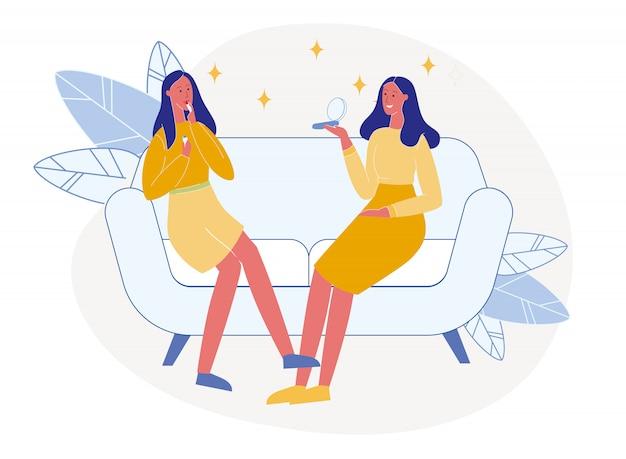 Namoradas tentam cosméticos ilustração em vetor plana Vetor Premium
