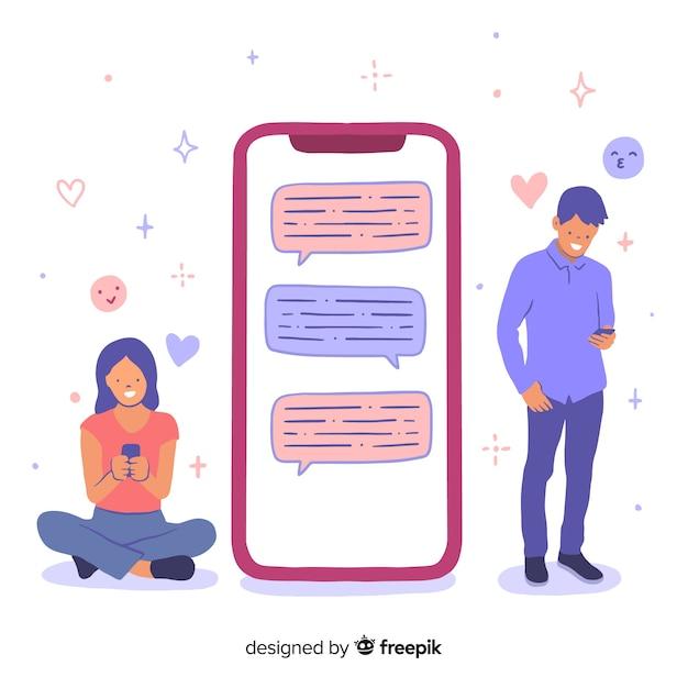 Namoro app conceito com personagens de menina e menino Vetor grátis