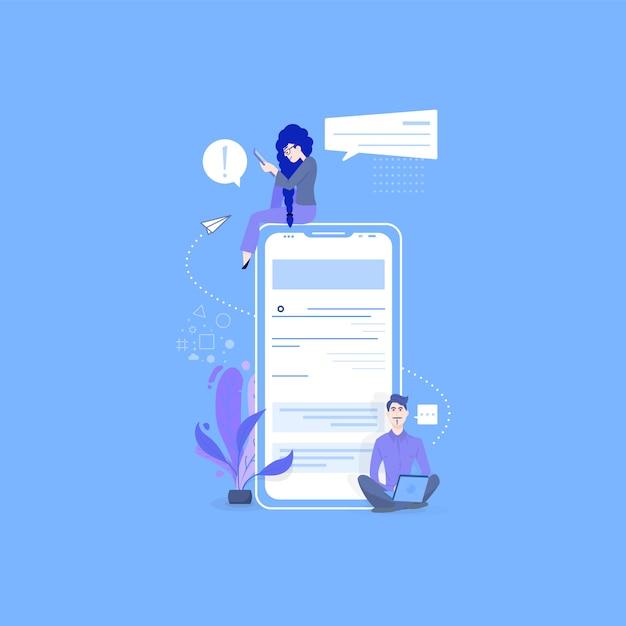 Namoro on-line e redes sociais Vetor Premium