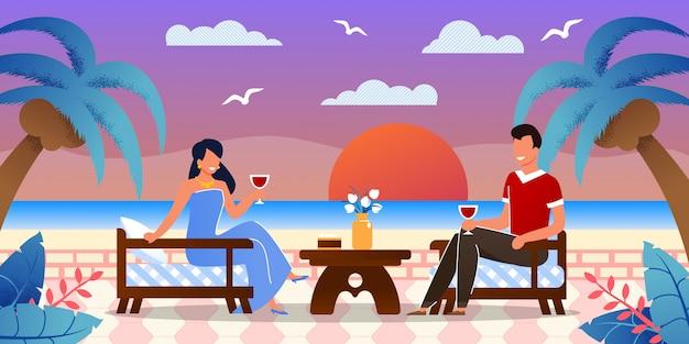 Namoro romântico à beira-mar na ilha tropical Vetor Premium