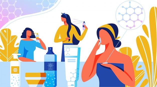 Nanotecnologia na indústria da beleza, cosmética. Vetor Premium