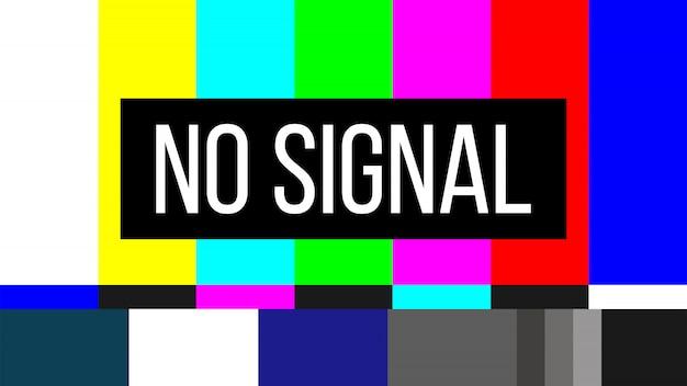 Não há sinal de teste de tv erro de tela na televisão smpte Vetor Premium