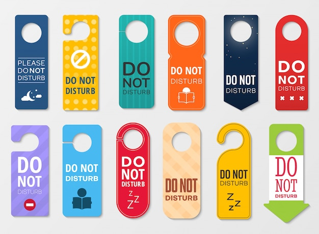 Não perturbe os sinais do gancho de porta do quarto de hotel Vetor Premium