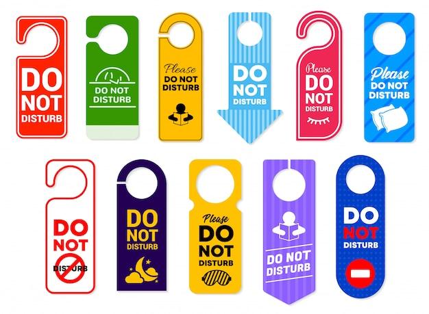 Não perturbe sinais de cabides de porta de quarto de hotel Vetor Premium
