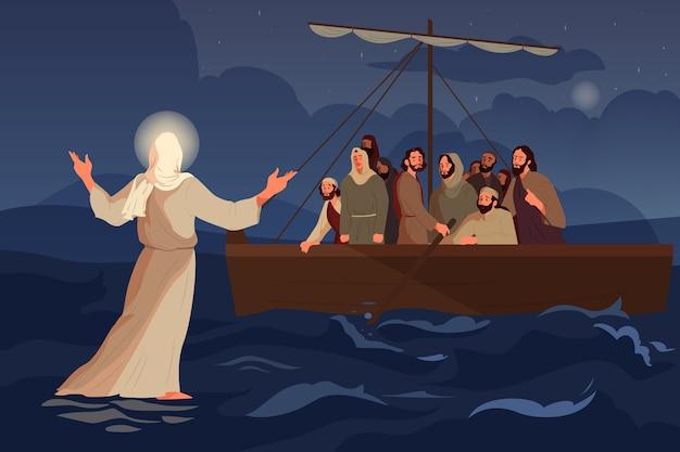 Narrativas bíblicas sobre jesus andando sobre as águas. os discípulos viram jesus Vetor Premium