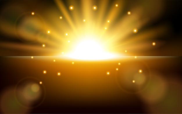 Nascer do sol com fundo de reflexo de lente Vetor Premium