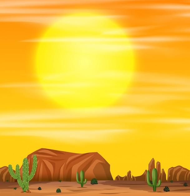 Nascer do sol em uma cena do deserto Vetor grátis
