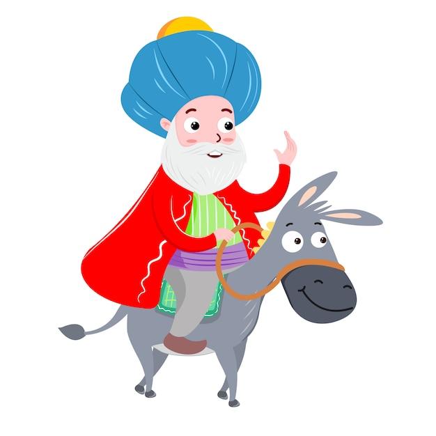 Nasreddin hodja e sua ilustração vetorial dankey Vetor Premium