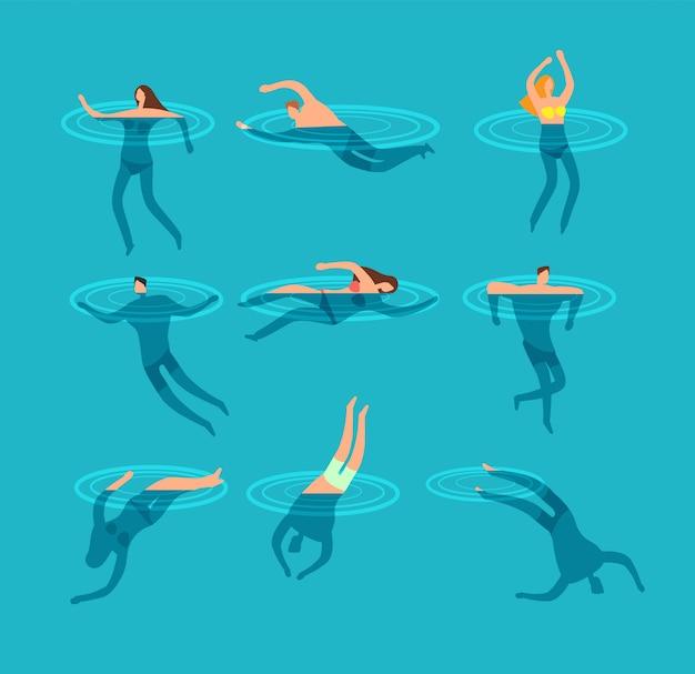 Natação e mergulho pessoas na piscina ilustração em vetor dos desenhos animados Vetor Premium