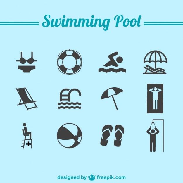 Natação ícones piscina Vetor Premium
