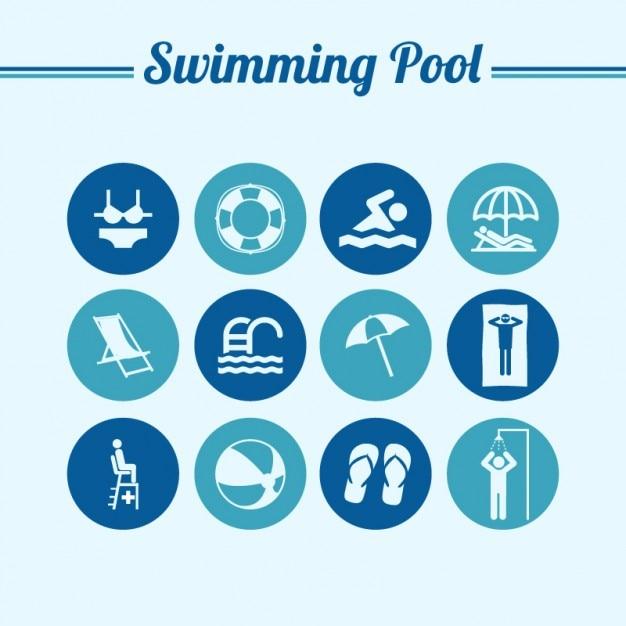 Natação piscina redonda símbolos planas Vetor grátis