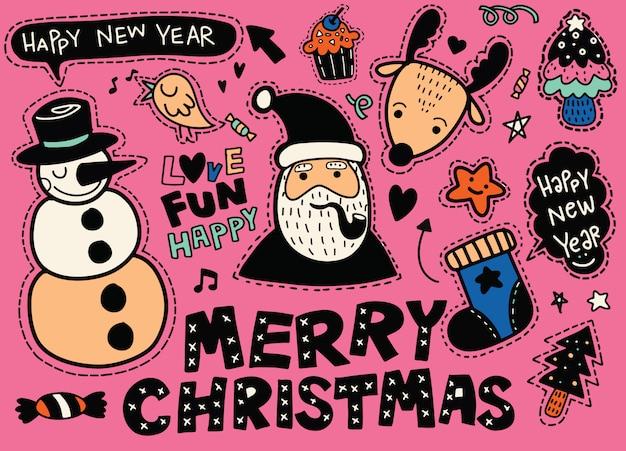 Natal, ano novo conjunto de etiqueta de símbolos bonitos: patches de papai noel Vetor Premium