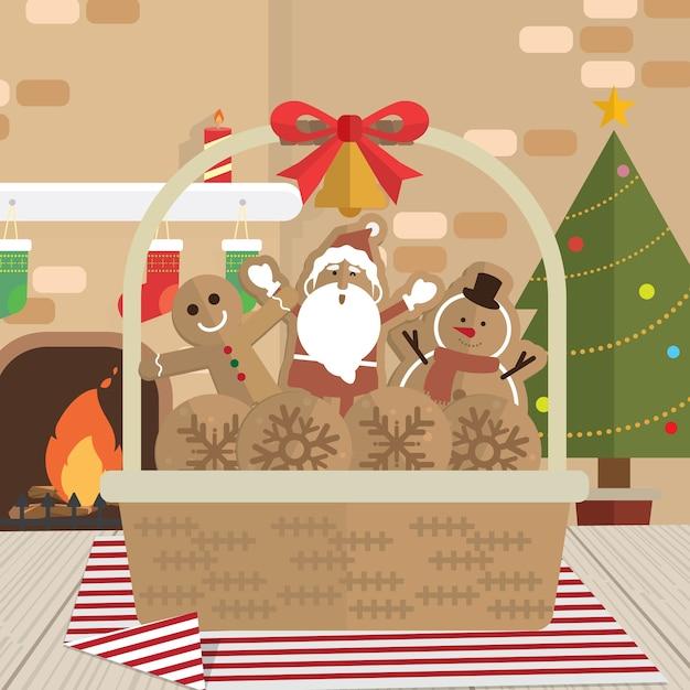 Natal, biscoito papai noel, lareira, sala Vetor Premium