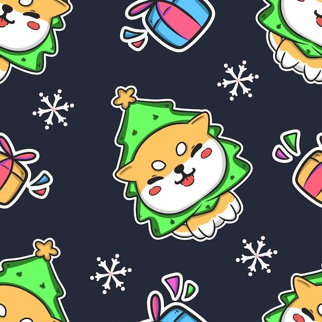 Natal bonito sem costura de fundo Vetor Premium