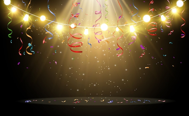 Natal brilhante, belas luzes, elementos de design. luzes brilhantes para design de cartões de natal. guirlandas, decorações leves. Vetor Premium
