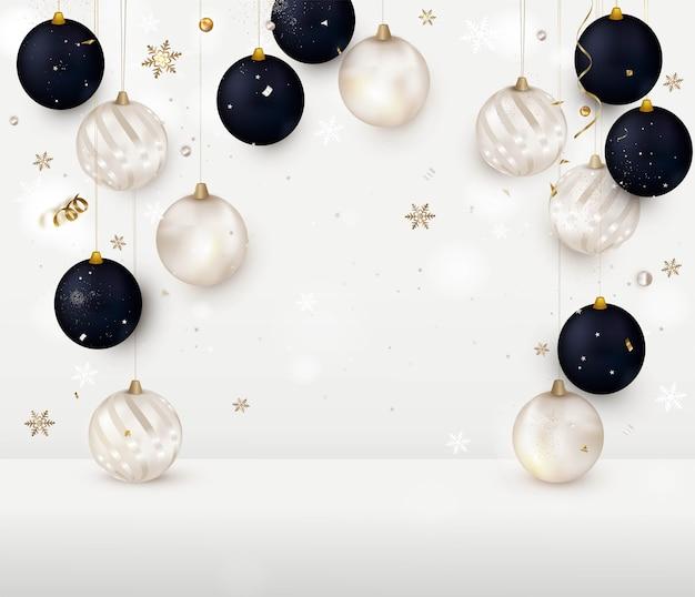 Natal com bolas de natal em um quarto branco, o conceito de ano novo. Vetor Premium