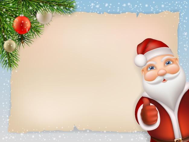 Natal com papai noel e ramo de abeto, bola de natal decorada. o fundo é uma folha de papel velha e flocos de neve. papai noel espreitando e mostra o polegar. Vetor Premium