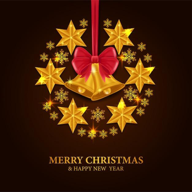 Natal com sino de ouro e estrela Vetor Premium