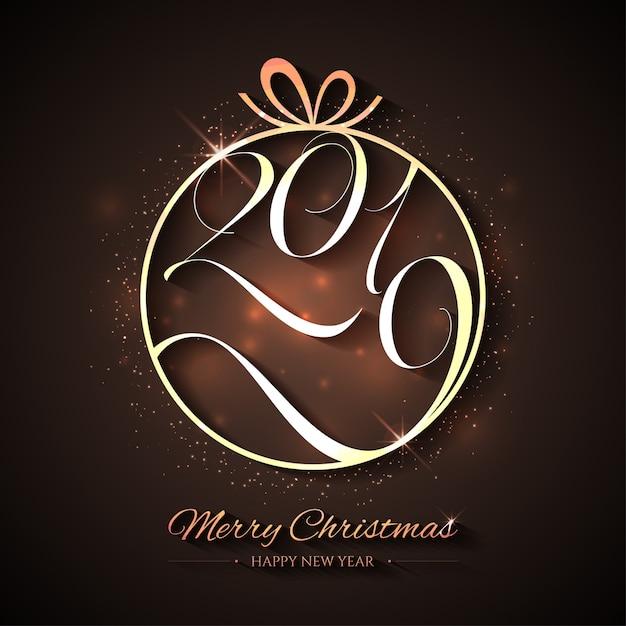 Natal criativo e feliz ano novo com uma bola de ouro Vetor Premium