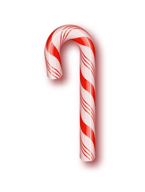 Natal de doces isolado. quadro de cabo trançado vermelho e branco. Vetor Premium