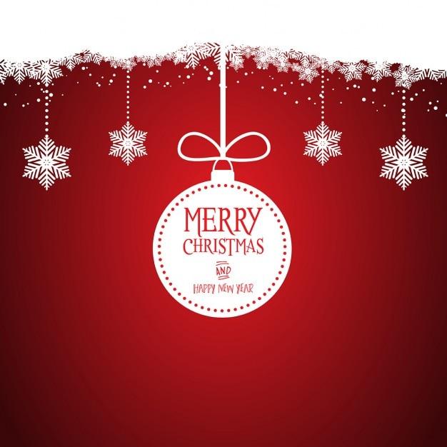 Natal de fundo decorativo com baubles de suspensão Vetor grátis