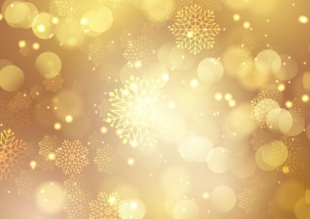 Natal dourado com flocos de neve e design de luzes bokeh Vetor grátis