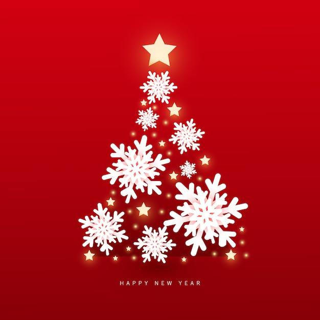 Natal e feliz ano novo com flocos de neve de cristal árvore de natal com luzes brilhantes Vetor Premium