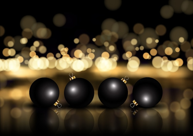 Natal elegante em ouro e preto com enfeites Vetor grátis