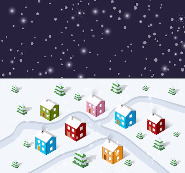 Natal inverno cidade Vetor Premium