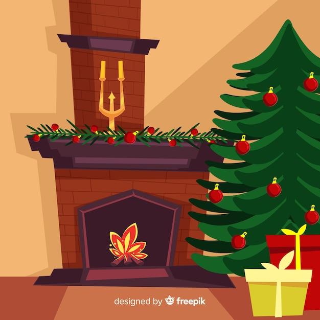 Natal lareira bela ilustração Vetor grátis
