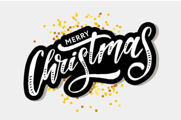 Natal letras caligrafia pincel texto férias adesivo ouro Vetor Premium
