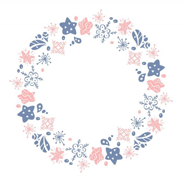 Natal mão desenhada grinalda rosa e azul floral inverno design elementos isolados Vetor Premium