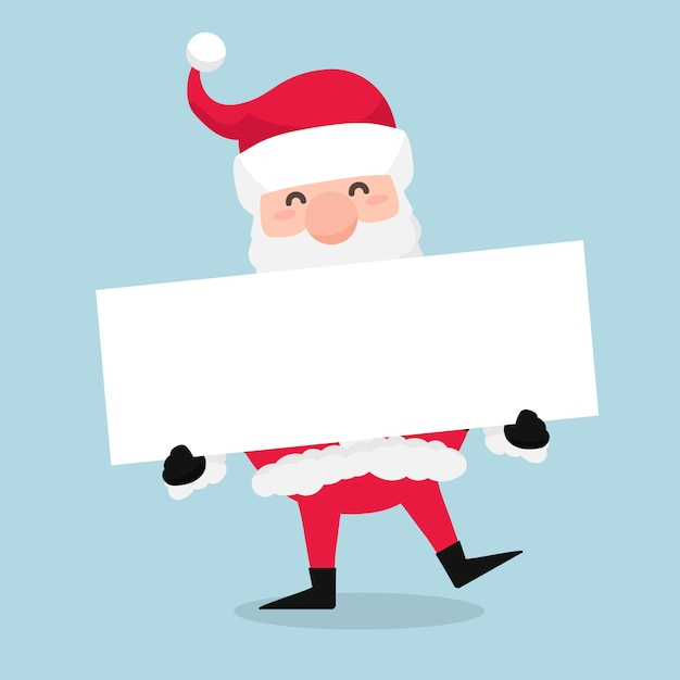 Natal papai noel segurando bandeira em branco Vetor grátis