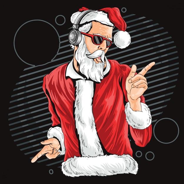 Natal parte da noite da dança de papai noel Vetor Premium