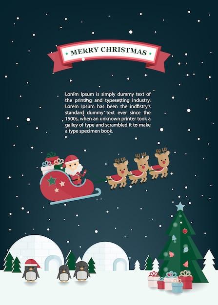 Natal plana papai noel, trenó de renas na vila de inverno. cartão de natal Vetor Premium