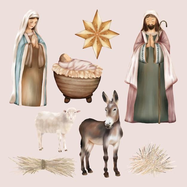 Natal religioso nascimento de jesus Vetor Premium