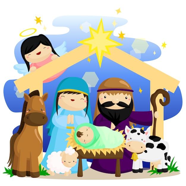 Natividade de natal Vetor Premium
