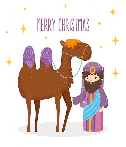 Natividade sábio rei e manjedoura de camelo, feliz natal Vetor Premium