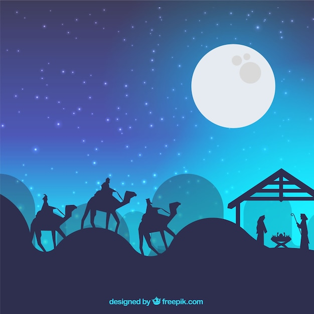 Nativity scene background Vetor grátis