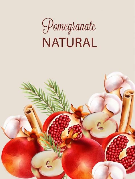 Natural vermelho metade romã cortada com folhas de abeto Vetor Premium