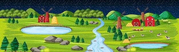 Natureza agrícola com paisagem de celeiros à noite Vetor grátis